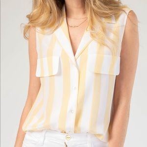 FRAME Sleeveless Silk Blouse in Golden Haze